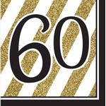 Festprodukter Partytajm Napkins 60 Years Black/Gold 16-pack