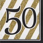 Festprodukter Partytajm Napkins 50 Years Gold/Black 16-pack