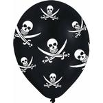 Latexballonger Amscan Latex Ballon All Round Printed Jolly Roger Black 6-pack