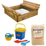 Nordic Play Sandbox with Bench & Lid Sand Blue Beach Set 805-744
