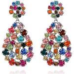 Långa örhängen Caroline Svedbom Hanna Rainbow Combo Rhodium Earrings w. Swarovski Crystals