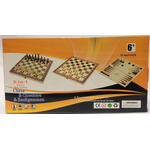 3-in-1 wooden with Folding Chess & Checkers & Backgammon