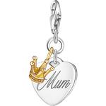Thomas Sabo Charm Club Mum Heart Crown Charm Pendant - Silver/Gold