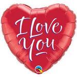 Festprodukter Qualatex Foil Ballon I Love You Script Modern Red