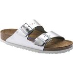 Birkenstock Arizona Soft Footbed Leather - Metallic Silver