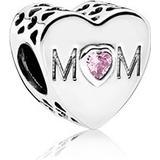 Smycken Pandora Mother Heart Silver Charm w. Pink Cubic Zirconia (791881PCZ)