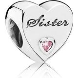 Berlocker Pandora Sister Love Silver Charm w. Pink Cubic Zirconia (791946PCZ)