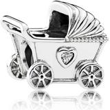 Smycken Pandora Baby Pram Sterling Silver Charm w. Cubic Zirconia (792102CZ)