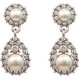 Pärlörhängen Lily and Rose Sofia Brass Earrings w. Swarovski Crystals/Pearl - 3.5cm