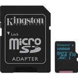 Minneskort micro sd 128gb Kingston Canvas Go! microSDXC Class 10 UHS-I U3 V30 90/45MB/s 128GB +Adapter