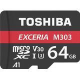 Minneskort micro sd kort 64gb Toshiba Exceria M303 microSDXC Class 10 UHS-I U3 V30 A1 98/65MB/s 64GB +Adapter