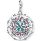 Berlocker och hängen Thomas Sabo Mayan Calendar Silver Charm Pendant w. Red/Turquoise Corundum/Glass (Y0049-340-7)