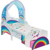Madrass 140 x 70 Barnrum Hello Home Unicorn & Rainbow Toddler Bed with Light up Canopy & Storage Drawer