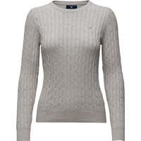 Gant Cotton Cable Crewneck Jumper Light Grey Melange