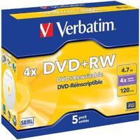 Verbatim DVD+RW 4.7GB 4x Jewelcase 5-Pack