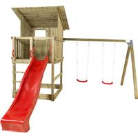 Plus Play Tower with Sloping Roof Swings Slide & Swing Seats