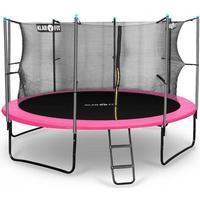 Rocketgirl studsmatta 366cm säkerhetsnät på insidan, bred stege, rosa