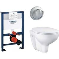 Komplett paket med Grohe cistern, rund spolknapp & Grohe Bau vägghängd toalett med softclose sits