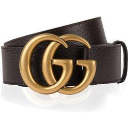 Gucci Double G Buckle Leather Belt - Dark Brown