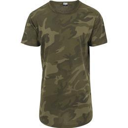 Urban Classics Camo Shaped Long T-shirt - Olive Camo