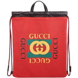 Gucci Print Backpack - Hibiscus Red