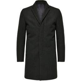 Selected Wool Coat - Green/Dark Green