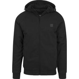 Urban Classics Hooded Cotton Zip Jacket - Black