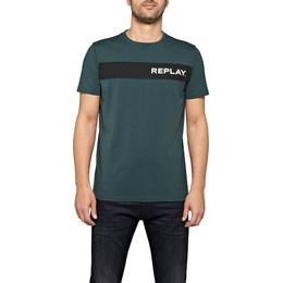 Replay Writing Stripe T-shirt - Dark Green