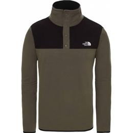 The North Face TKA Glacier Snap Neck Pullover - New Taupe Green/TNF Black