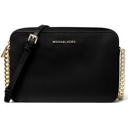 Michael Kors Jet Set Large Saffiano Leather Crossbody Bag - Black
