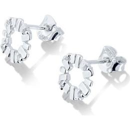 Gynning Jewelry Bricks Explosion Mini Earrings - Silver/Transparent