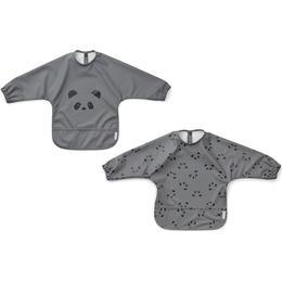 Liewood Merle Cape Bib Panda Stone Grey 2-pack