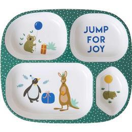 Rice Melamine Kids 4 Room Plate Party Animal Print