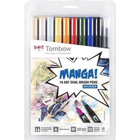 Tombow Manga Shonen Dual Brush Pen Set of 10-pack