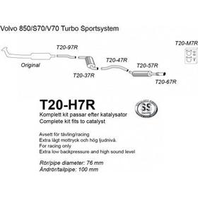3 tum Komplett Halvsats Avgas 850 / S70 / V70 - Rostfritt