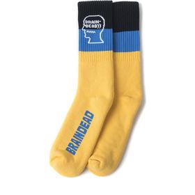 Brain Dead Striped Logo Head socks (Gelb / Blau / Schwarz)