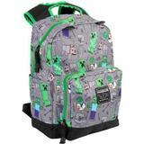 """Väskor Minecraft 17"""" Overworld All Over Backpack - Grey/Green"""