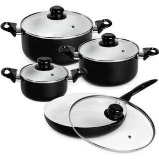 tectake Ceramic Cookware Set Kastruller med lock 8 delar