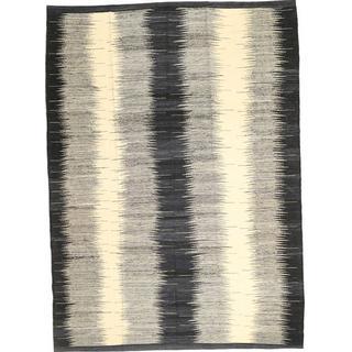 CarpetVista ABCO1178 Kelim Modern (210x288cm) Svart, Vit