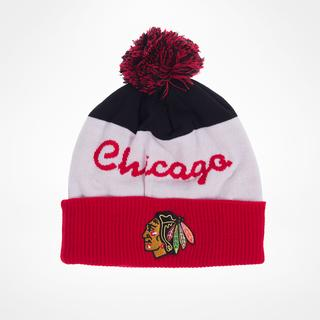 Reebok Chicago Blackhawks Script Cuff Pom Knit Beanie