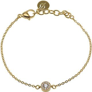 Edblad Thassos Mini Stainless Steel Gold Plated Bracelet w. Transparent Cubic Zirconium - 18.5cm (11730154)