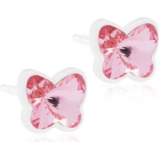 Blomdahl Butterfly Plastic Earrings w.Pink Crystal - 0.5cm