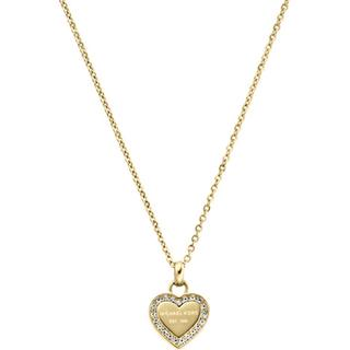 Michael Kors Heritage Stainless Steel Gold Plated Necklace w. Transparent Cubic Zirconium - 45cm (MKJ3969710)
