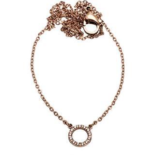 Edblad Glow Mini Stainless Steel Rose Gold Plated Necklace w. Transparent Cubic Zirconium - 42cm (82934)