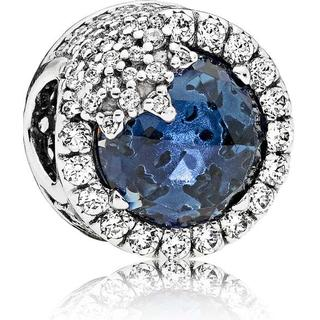 Pandora Blue Dazzling Snowflake Sterling Silver Charm w. Blue Crystal/Cubic Zirconia (796358NTB)