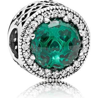 Pandora Green Radiant Hearts Sterling Silver Charm w. Green Crystal/Cubic Zirconia (791725NSG)