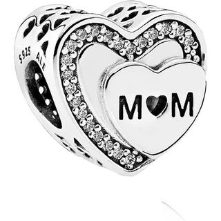 Pandora Tribute to Mum Sterling Silver Charm w. Cubic Zirconia (792070CZ)