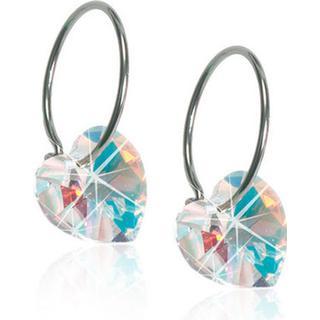 Blomdahl Heart Pendant Titanium Earring w. Swarovski Crystal - 1.4cm (15-1255-02)