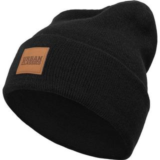 Urban Classics Leatherpatch Long Beanie - Black