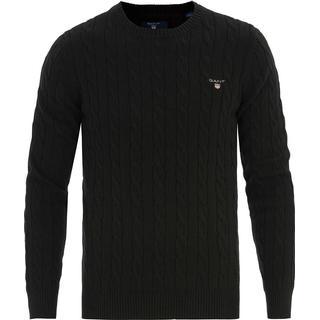 Gant Cotton Cable Crew Sweater - Black